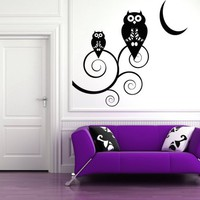 Halloween Owls on Curly Branches by the Moon - Vinyl Wall Art Dec......