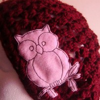 Burgundy Slouchy Hat with Pink Owl