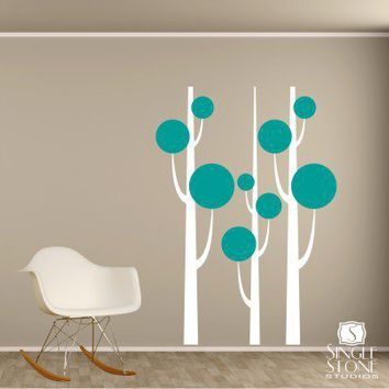 Tree Wall Decals Simple Trees FREE SHIPPING by singlestonestudios