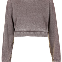 Burnout Crop Sweat - Jersey Tops - Clothing - Topshop