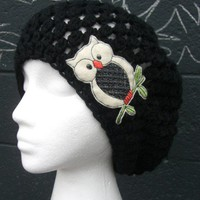 Black Slouchy Beanie Crocheted Hat - Sleepy Owl Hat - Black Slouch Hat