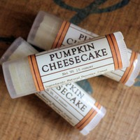 Pumpkin Cheesecake Lip Balm - One Tube Beeswax Shea Cocoa Butter Jojoba