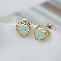 Bestgoods  Cute Retro Sweet Heart Green Earrings