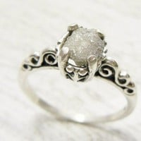 Fancy Uncut Raw Diamond Ring Victorian Style Sterling Band Choose Size