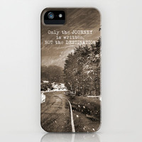 Only the JOURNEY is written NOT the DESTINATION. Vintage Mountains iPhone Case by Guido Montañés