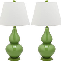 One Kings Lane - Lust-Worthy Lighting - Angela Table Lamp Set, Fern Green
