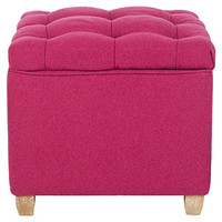 One Kings Lane - Ready, Set, Glamour - Roscoe Storage Ottoman, Hot Pink