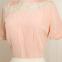 1930's Vintage  Silk Blouse - Romantic Lace  Pink  Top