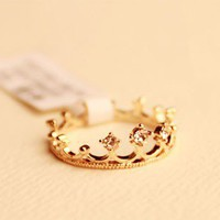Fashion Rhinestone Crown Tail Ring