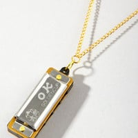 Harmonica Necklace | 1&quot; Silver Harmonica Necklace | fredflare.com