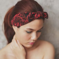 Red tiger , Bow, Knot, Headband