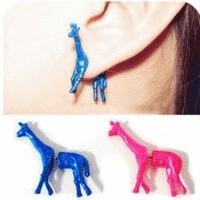 3D Neon Giraffe Ear Studs  | LilyFair Jewelry