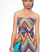 Zig Zag Multi Color Stapless Dress in Blue :: tobi