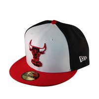 NEW ERA 59FIFTY FITTED hat cap white front red blue chicago bulls jordan nba