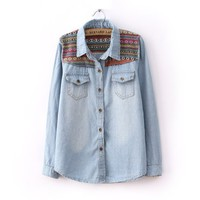Tribal Print Vintage Blue Denim Shirt $24.34