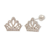 Sterling Silver Crown Tiara Stud Earring Screw Back with Sparkly Stones