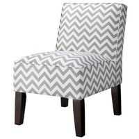 Armless Upholstered Accent Slipper Chair - Gray Chevron
