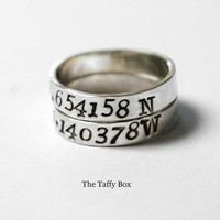 2 Sterling Silver Longitude Latitude Rings | Luulla