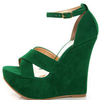 Luichiny Not Enough Green Suede Mega Platform Wedges