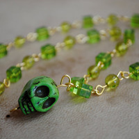 Green Skull Beaded Gold Necklace Glass Jewelry