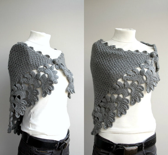 Free SHIPPING Grey Capelet Shawl Valentines Day Gift by denizgunes