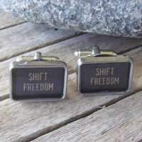 Typewriter Key Cufflinks  Shift Freedom  Vintage  by busterandboo