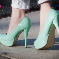 Bonnibel Monique-1N Patent Round Toe Stiletto Pump (Mint Green) - Shoes 4 U Las Vegas
