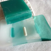 Soap Dish in Pale Aqua, White and  Streaky Aquamarine Glass