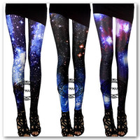 Galaxy Space Aurora Mysterious Universe Rock Punk Sexy Leggings Tights Pants