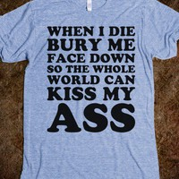 Kiss My Ass World-Unisex Athletic Blue T-Shirt