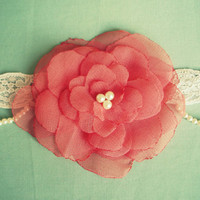 Beautiful Coral Flower Baby Headband by MaisysBoutique on Etsy