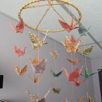Origami Paper Crane Circular Coil Mobile