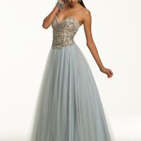Prom Dresses 2013 - Long Strapless Tulle Dress with Beaded Bodice from Camille La Vie and Group USA