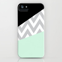 Mint & Black Chevron Block iPhone Case by daniellebourland