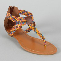 Bamboo Sheff-03 Multicolor Woven T-Strap Flat Sandal