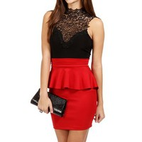 SALE-Black/Red Crochet Peplum Dress
