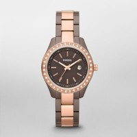 FOSSIL® Features A Touch Of Rose:Womens Stella Mini Stainless Steel Watch - Brown and Rose ES3000