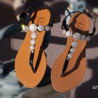 Rosette Xanthia-01 Be Jeweled T-Strap Flat Sandal (Black) - Shoes 4 U Las Vegas