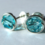 Light Turquoise Swarovski Crystal 6mm Post Earrings in Sterling Silver Stud Earrings Studs