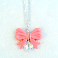 Lolita Pink Bow Heart Statement Necklace Kawaii by aLilBitOfCute