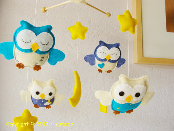 Nursery Owl Mobile Baby Crib Mobile Bird Owl Mobile by hingmade