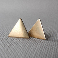 Triangle Earring Studs  Brass Triangle Earring by MistyAurora
