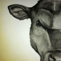 Cow - 8 x 10 Archival Art Print - Kitchen Decor - Watercolor painting - Affordable Art - Samiamart