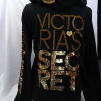NWT Victoria Secret Bling Supermodel Essentials Hoodie M    Black