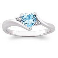 Heart Blue Topaz with CZ Accent Ring - FindGift.com