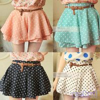 Polka Dot Skirt/Short w/Belt (More Colors)