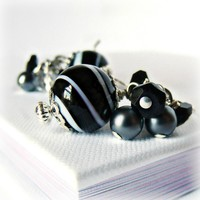 Black and White Hand Blown Glass Earrings w/ Onyx- Black Earrings- Black Jewelry- Pearl Jewelry- Onyx Jewelry- Sterling Silver Jewelry