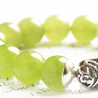 Light Green Agate Bracelet. Long Sterling Silver Hollow Bead. Stacking Bracelet. Green Stone Bracelet TAGT