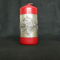 Red Pillar Candle Pewter Embossed Decorative Sleeve by Loutul
