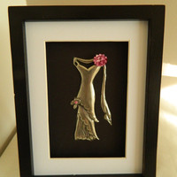 Pewter Dress Sculpture Hand Embossed Pink Trimmings by Loutul
